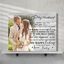 Custom Photo Wall Decor Painting Canvas With Text Horizontal Version - To My Husband