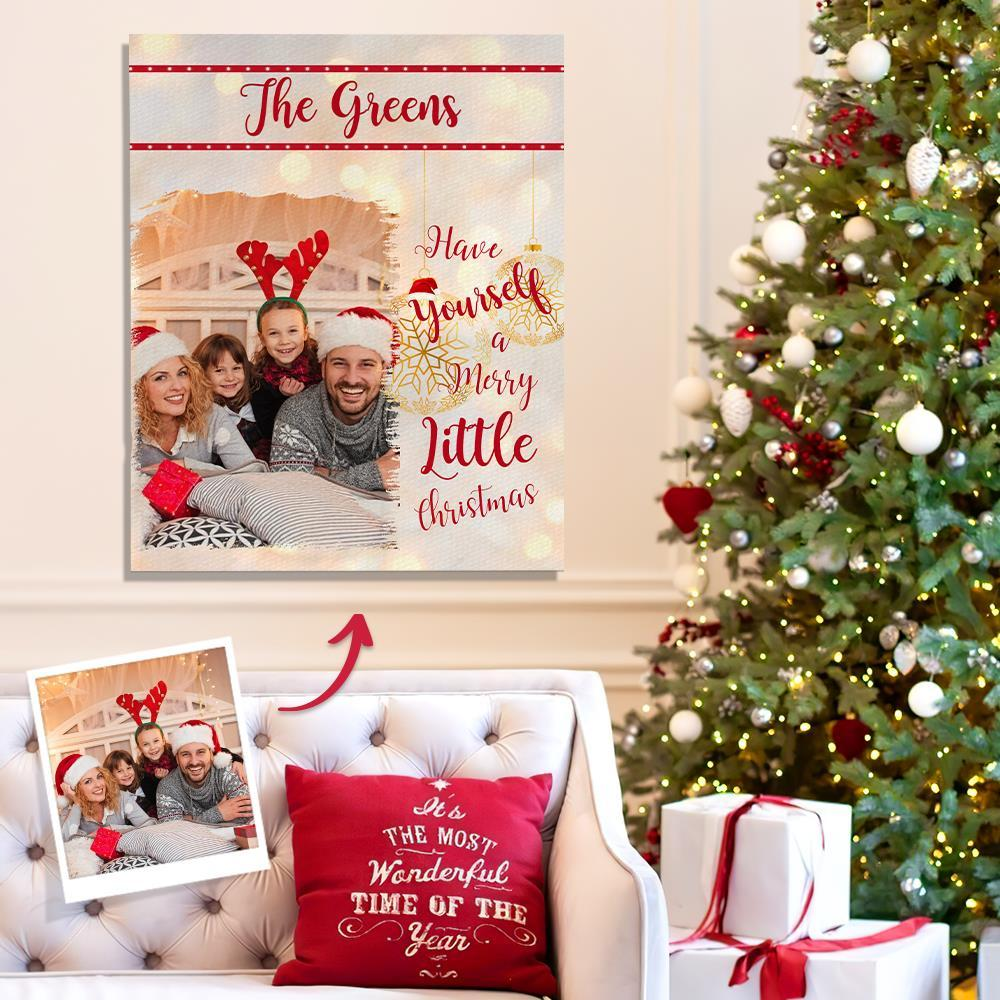 Christmas Gift Personalized Photo Canvas Prints With Frame Custom Family Photo Home Wall Decor
