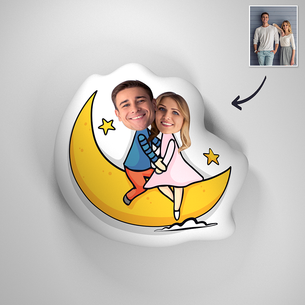 Custom Couple Photo Romatic Comfortable Cute Moon Pillow