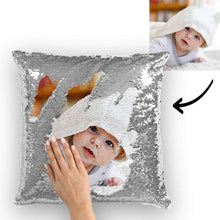 Custom Cute Baby Photo Magic Sequins Pillow Multicolor Shiny 15.75*15.75