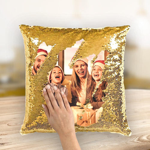 Christmas Gift Custom Love Couple Photo Magic Sequins Pillow Multicolor Shiny 15.75*15.75