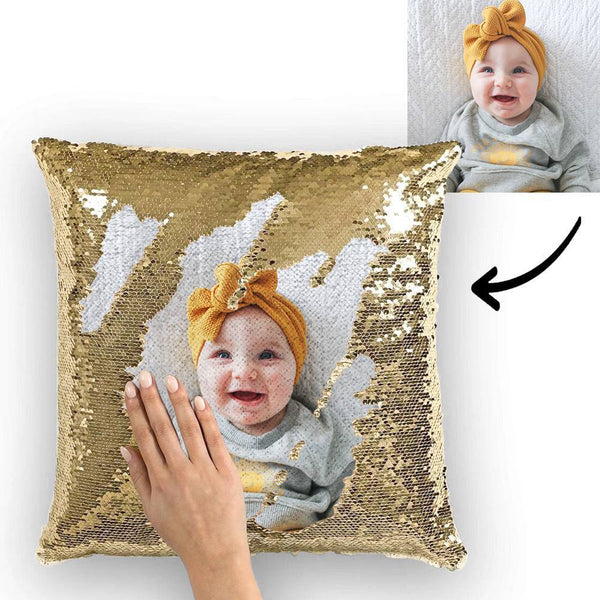 Custom Love Baby Photo Magic Sequins Pillow Multicolor Shiny 15.75*15.75