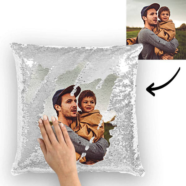 Custom Perfect Family Photo Magic Sequins Pillow Multicolor Shiny 15.75*15.75