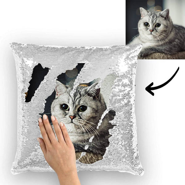 Custom Cute Dog Photo Magic Sequins Pillow Multicolor Shiny 15.75*15.75