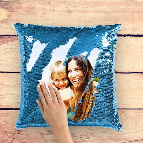 Mother's Day Gifts - Custom Photo Magic Sequins Pillows Multicolor Shiny 15.75*15.75