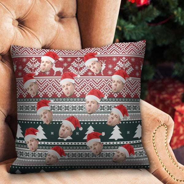 Christmas Gifts Custom Face Photo Pillow with Christmas Hat