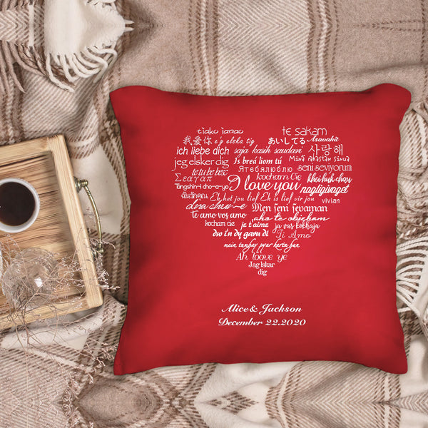 Custom Couple Pillows I Love You Multiple Languages