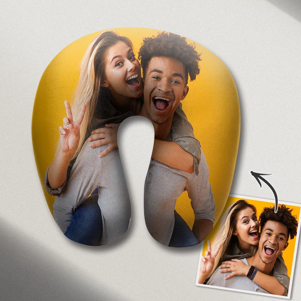 Personalized U Pillow Custom Photo Travel Neck Pillow Comfortable U-shaped Pillow Nursing Pillow - Sweet Couple Photo