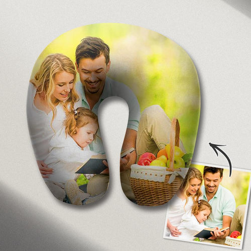 Personalized U Pillow Custom Photo Travel Neck Pillow Comfortable U-shaped Pillow Nursing Pillow - Family Photos