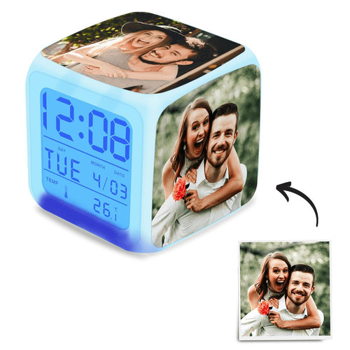 Personalized Photo Alarm Clock Gifts Home Decoration Multi Photo Colorful Lights