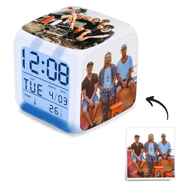 Custom Gifts Alarm Clock Home Decoration Multi Photo Colorful Lights
