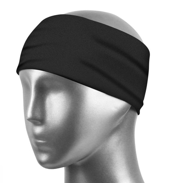 Sports Sweatband Unisex Design Sweat Wicking Fabric Fits All Head Sizes Workout Sweatbands for Running, Cross Training, Yoga and Bike Helmet - Black