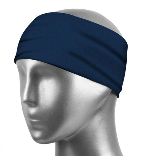 Sports Sweatband Unisex Design Sweat Wicking Fabric Fits All Head Sizes Workout Sweatbands for Running, Cross Training, Yoga and Bike Helmet - Deep Blue