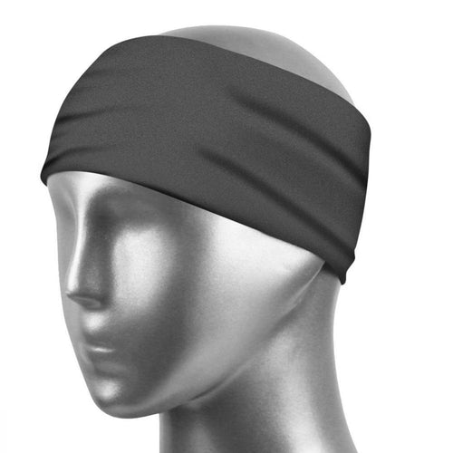 Sports Sweatband Unisex Design Sweat Wicking Fabric Fits All Head Sizes Workout Sweatbands for Running, Cross Training, Yoga and Bike Helmet - Dark Gray