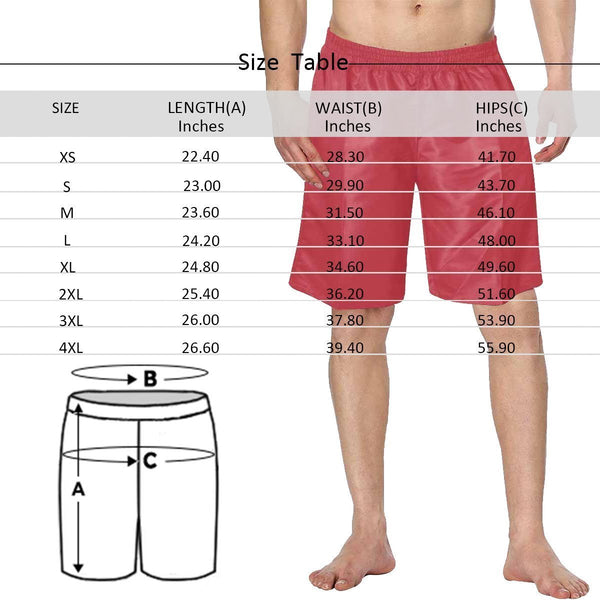 Custom Couple Face Photo Men's Swim Trunk Summer