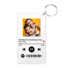 Spotify Glass Custom Scannable Keychain Spotify Code Music Plaque Keyring Gift (2.1IN X 3.4IN)