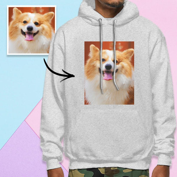 Custom Long Sleeve Photo Pullover Men's Hoodie Sweatshirt Pet Photo