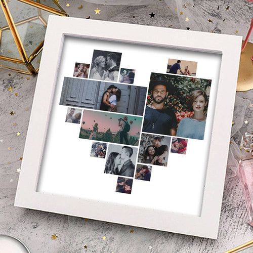 Couple's Gift Personalized Photo Frame 14 Pictures Heart Shaped