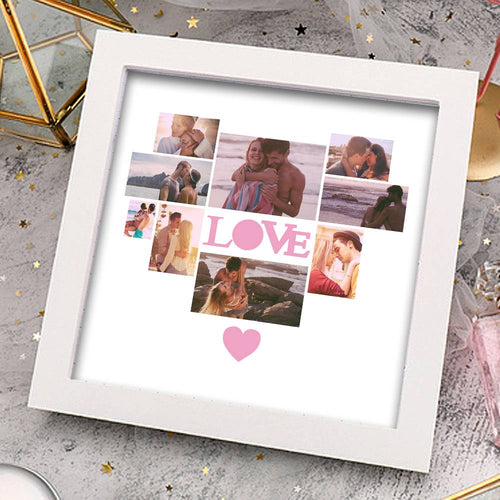 Personalized Photo Frame 9 Pictures with Love Heart Shaped Pink Heart  Gift