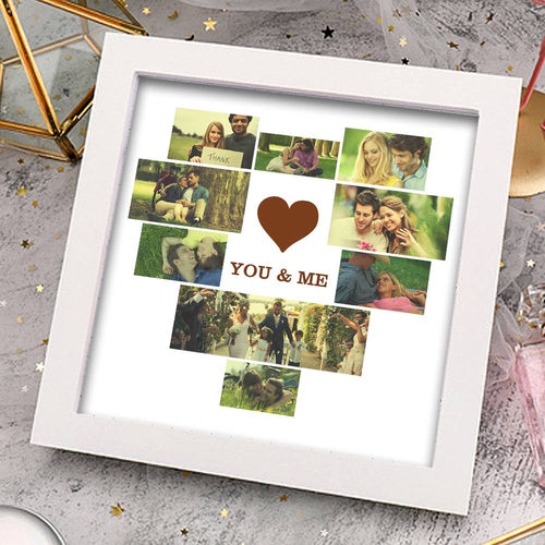Personalized Creative Photo Frame 9 Pictures with Heart Shaped You & Me