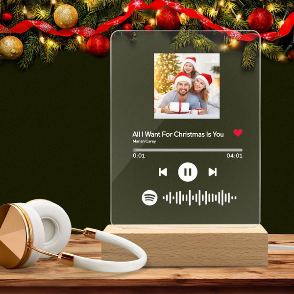 Personalized Spotify Code Lamp Custom Photo Acrylic Night Light Christmas Gifts For Lover(5.9IN X 7.7IN)