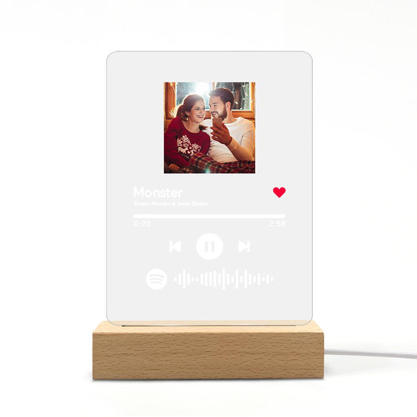Spotify Glass Custom Spotify Code Lamp Acrylic Night Light For Lover(5.9IN X 7.7IN)