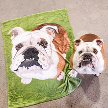 Custom Dog Blankets Personalized Pet Photo Blankets Painted Art Portrait Fleece Blanket