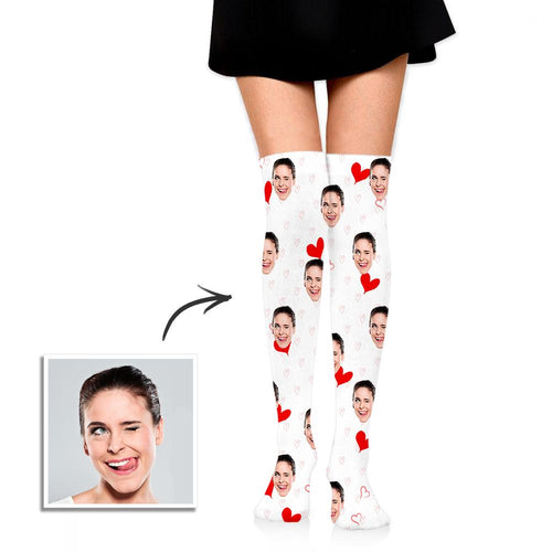 Personalized Socks Knee High Printed Picture Custom High Tube Socks with Red Hearts