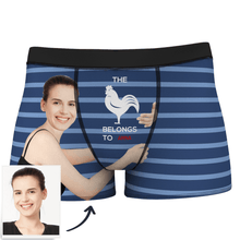 Custom Girlfriends Face Stripe Boxer Shorts With Text