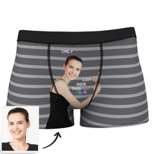 Custom Girlfriend Face Stripe Boxer Shorts - Love Hug To Him