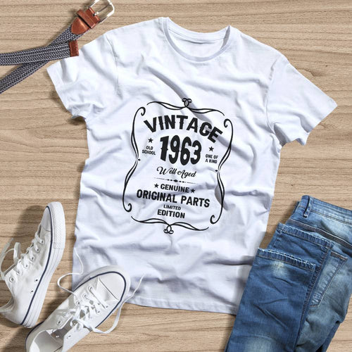 Birthday Shirt 58th Birthday Gift, VINTAGE 1963 Limited Edition, Well Aged Original Parts T-shirt