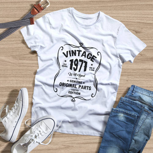 Birthday Shirt 50th Birthday Gift, VINTAGE 1971 Limited Edition, Well Aged Original Parts T-shirt