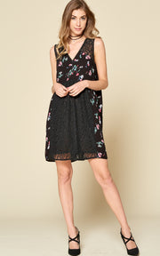 SLEEVELESS MINI DRESS BLACK FLORAL LACE