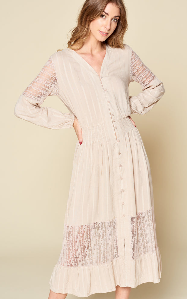 TAUPE BUTTON DOWN LACE DRESS SMOCKED WAIST RUFFLE CARDIGAN