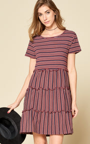 STRIPE MIDI SHORT SLEEVE DRESS RUFFLE BURGUNDY SPRING DRESS