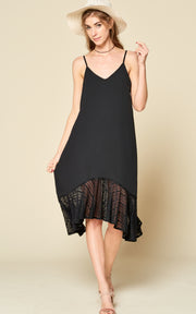 LACE CAMI SLIP DRESS BLACK