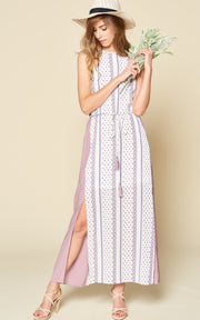 COLOR BLOCK LAVENDER MAXI DRESS