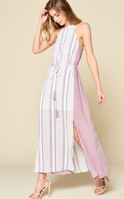 CAMI DRESS COLOR BLOCK SIDE SLIT TASSEL BELT SPRING DRESS MAXI DRESS