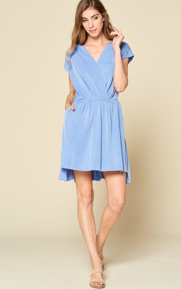 BLUE MINI DRESS DOLMAN SLEEVES WAIST TIE POCKETS