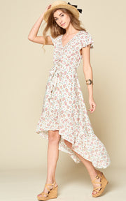 CREAM OFF WHITE MINI FLORAL DRESS RUFFLE