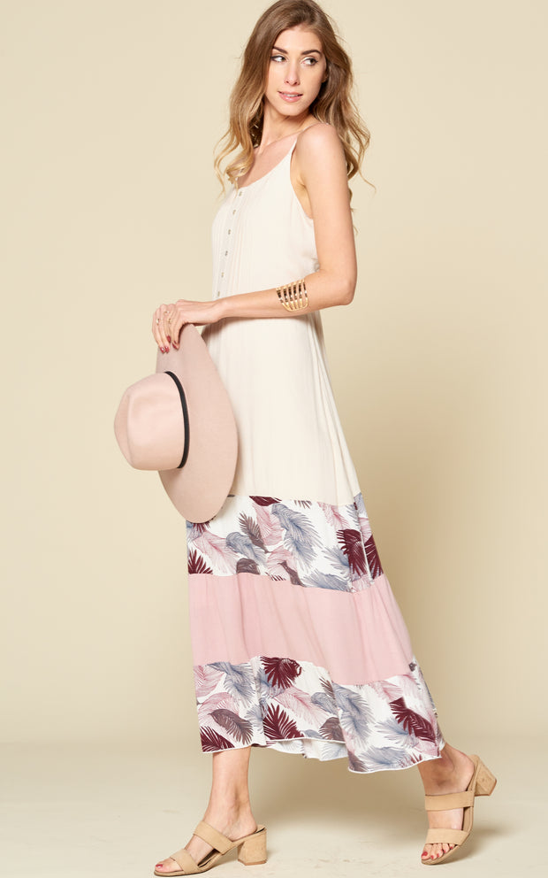 TROPICAL COLOR BLOCK CAMI DRESS LEAF VANILLA PINK