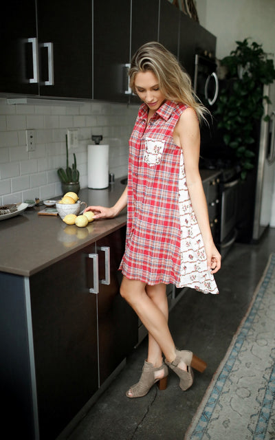 PLAID FLORAL SHIRT DRESS