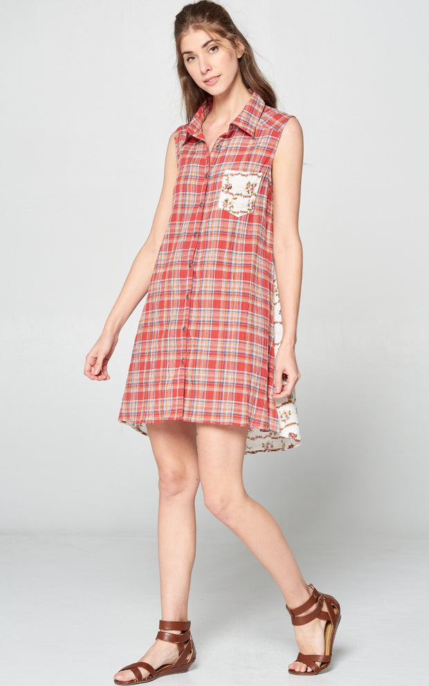 RED PLAID FLORAL SHIRT DRESS BUTTON DOWN BACK DETAIL
