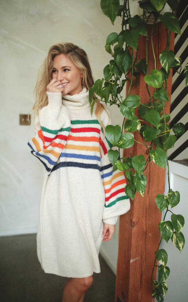 RAINBOW SWEATER DRESS
