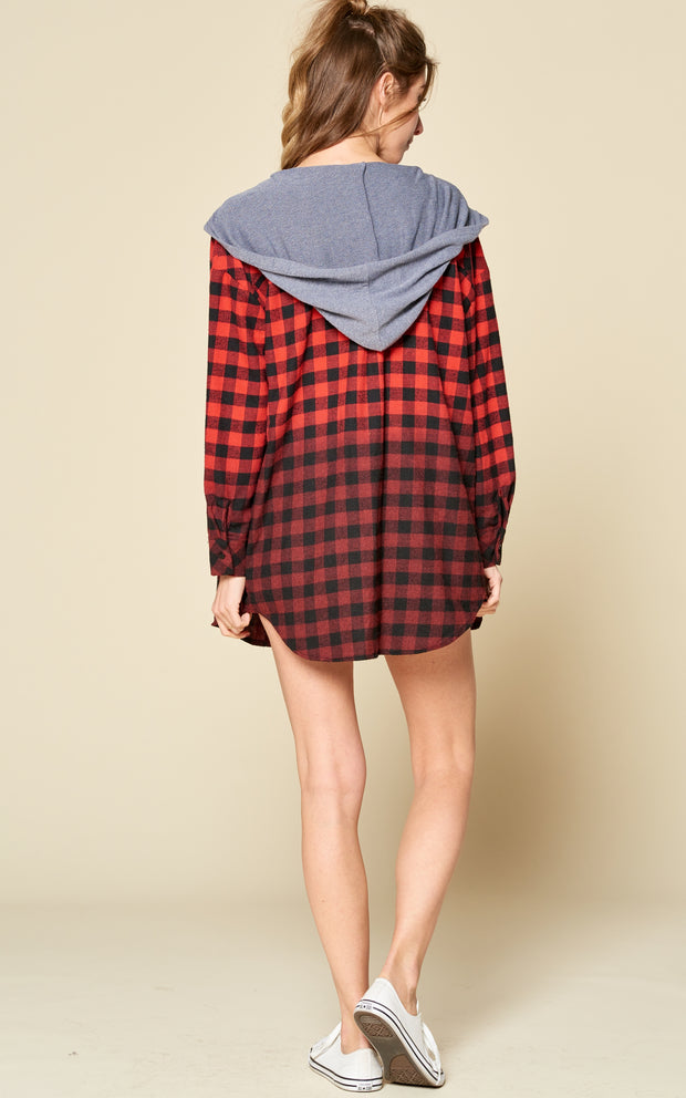 PLAID HOODIE JACKET RED