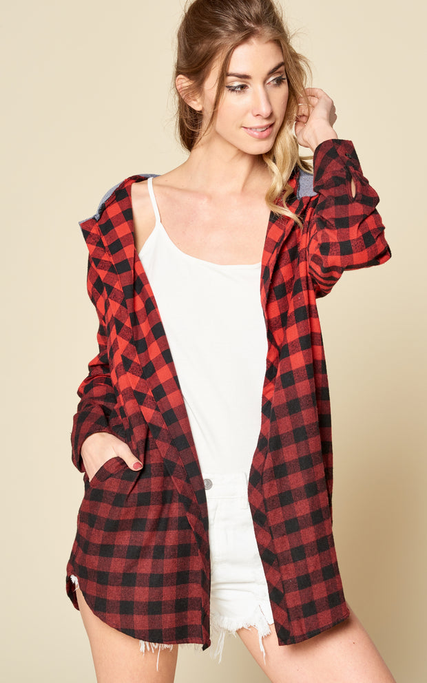 OMBRE PLAID HOODIE JACKET