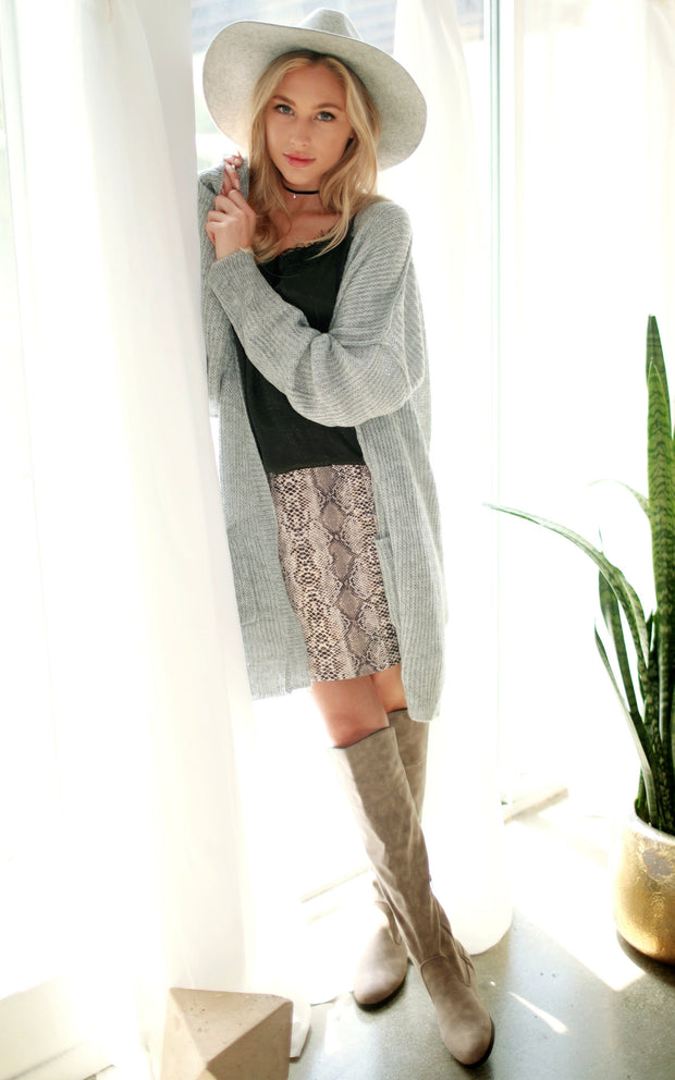 SNAKE SKIN SUEDE MINI SKIRT