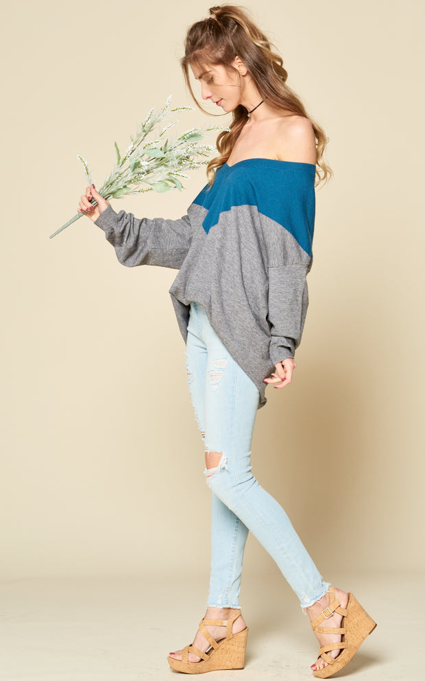 COLOR BLOCK SWEATER OFFSHOULDER ONESHOULDER VNECK SWEATER