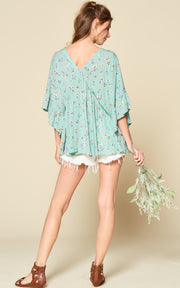 MINT FLORAL RUFFLE TOP