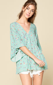 MINT FLORAL RUFFLE TOP BELL SLEEVES RUFFLE SLEEVES BUTTON DOWN